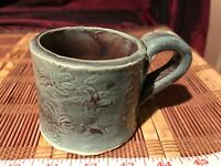 "Handmade Pottery Blue Thick Coffee Mug Cup w/ Etched Design 4 1/2""x2 3/4"" Signed"