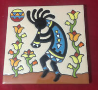 Hand-N-Hand Designs Earthtones 6x6 Decorative Tile - Kokopelli Flower Charmer
