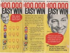 Lever Brothers Gary Moore $100.00 Easy Win Contest Flyer 1957 with unused entry