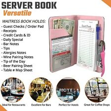 Server Book Waitress Wallet Organizer Pink 7 Pocket Bundle With Wine Opener