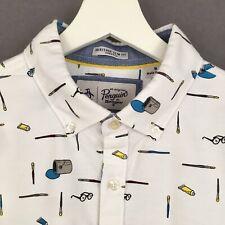 New Penguin Artist Print White Shirt M Medium Paintbrush Paint Unusual Funky