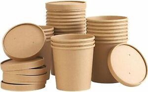 Biodegradable Disposable Kraft Carton Soup Ice Cream Cup Container Lid