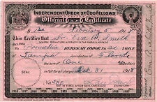 1918 Independent Order of Odd Fellows Official Certificate Tampa Florida  USED