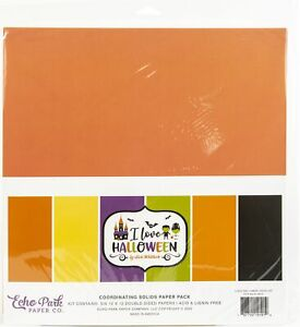 """Echo Park Double-Sided Solid Cardstock 12""""X12"""" 6/Pkg-I Love Halloween, 6 Colors"""