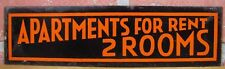 Old APARTMENTS FOR RENT 2 ROOMS Adv Tin Sign B&B Hotel Motel Boarding House