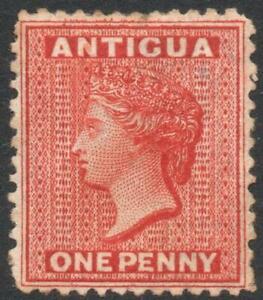 ANTIGUA: 1872 - Sg 14 - 1d Scarlet Unused No Gum Example - Cat £200 (37180)