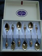 COUNTRY ORCHARD SET SILVER PLATED & PORCELAIN TEASPOONS BOXED