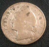 1897 Dominican Republic 20 Centavos  Silver Coin