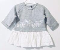 Matalan Baby Girls Dress Newborn Grey White Long Sleeve Peplum Style Winter