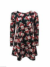 BNWT Ladies Festive Fun Father Christmas Textured Swing Dress Tunic Top 16/18