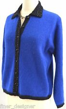 Casual Corner angora cardigan Sweater top knit beaded holiday top fuzzy M chic