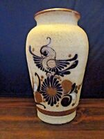 "Mexico Clay Pottery Vase with Bird and flowers 8"" Tall"