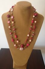 LONG COLOURFUL PRELOVED BEADED NECKLACE IN PINKS AND PEACH