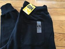 Mens Black DRUNKNMUNKY 'classic long' logo fleece jog / casual pants, XL