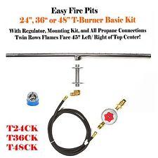 """T24CK: DIY BASIC PROPANE FIRE PIT KIT & 24"""" LINEAR 316 STAINLESS T-BURNER"""