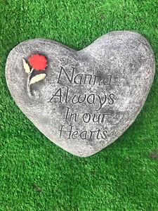 Nanna Always In Our Hearts, Memorial Stone Heart Garden Ornament Gravemarker