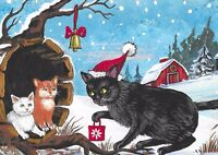 ACEO PRINT OF PAINTING RYTA  XMAS FOLK ART WINTER LANDSCAPE BLACK CAT KITTENS