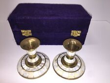 "Vintage Mother of Pearl & Brass Candleholders w/ Purple Velvet Case ""Nice"""