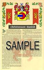 CHRISTENSEN Armorial Name History - Coat of Arms - Family Crest GIFT! 11x17