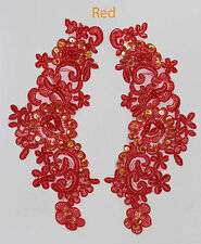 2 x RICAMATO Venise Pizzo Paillettes & Perline APPLIQUE Trim Motif in Rosso # 2