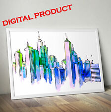 Watercolor NEW YORK MANHATTAN Art Poster Print Wall Picture PRINTABLE Home Decor