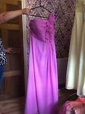 Ladies Lavender Chiffon One Shoulder Ruffle Bridesmaid Prom Dress Size 14