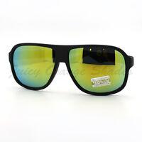 Retro Sporty Flat Top Square Aviator Sunglasses Matted Frames Multicolor Lens