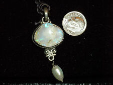 Unique Opal and Pearl .925 Silver Pendant NOS