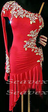 Competition Ballroom Latin Rhythm Rumba Dance Dress US 8 UK 10 Red Sliver Color