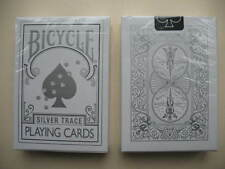 Rare Bicycle SILVER TRACE Deck Playing Cards Magic Outline Puppy Paw Ace Design
