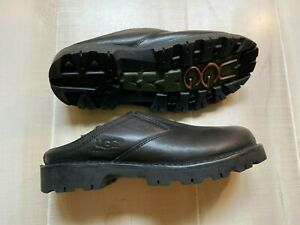MEN'S UGG BLACK S/N 5140 leather sheepskin lined mule clog shoes size 10