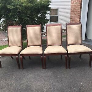 Ethan Allen Formal Contemporary Dining Chairs In Plaid Design-**SET OF FOUR**