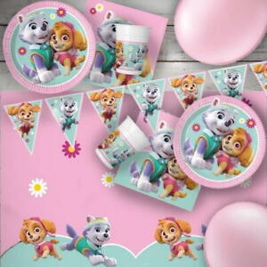 Paw Patrol Pink Flowers Skye Everest Party Tableware, Decorations and Balloons