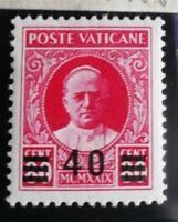VATICANO 1934 provvisoria 40 su 80c rosso carminio mnh**