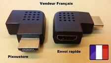 Adaptateur HDMI Mâle-Femelle 90° Angle droit Geuche Horizontal . Neuf  FR 2-19