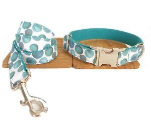 Dog Collar And Lead Set Polka Dot Pet UK Seller DC5