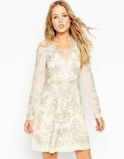 Needle & Thread Lace Embellished Plunge Skater Dress (CREAM/SILVER) RRP £150.00