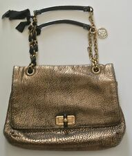 Bronze LANVIN HAPPY Shoulder Bag, 9 x 12 x 1 1/2 in, 15 in drop