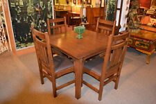 Mission Oak Dining Table / Kitchen Table with 4 oak chairs / Conference table