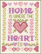 Mini Home is where the Heart is Sampler - complete Cross Stitch Kit on 14 aida