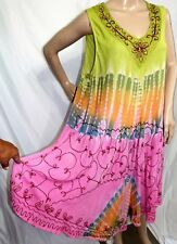 Jessica Taylor Women Plus Size 1x Asym Gypsy Tie Dye Batik Pink Summer Dress