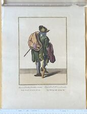 Antique Marcellus Laroon Cries of London German Plate 7 Hand-Colored Engraving
