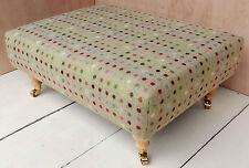 Large Designer Footstool in 100% Wool Tartan Fabric. Choice of legs & fabrics!