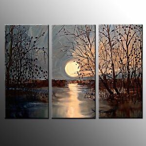 FRAMED  Canvas Prints Home Decor Moon Painting Picture Wall Art Painting-3pcs
