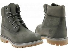 """Timberland 6"""" Premium Waterproof Leather Deep Grey Double Sole Boots 8.5 Womens"""
