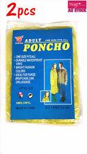 2x Reusable Adult Vinyl Poncho Hooded Rain Coat Raincoat One Size Waterproof YW