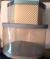 Lot of 2 vintage Hat Boxes Quilted Clear Plastic Storage & Striped Cardboard