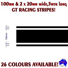 100mm+2x20mm(20mm GAPS) GT racing stripes performance car vinyl decal stickers!