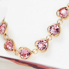 Swarovski Element Crystal Rose Gold Plated Pink Heart Bracelet Bangle Jewellery