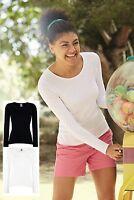 Femmes Moulant Coton Col Rond Manches Longues T-Shirt